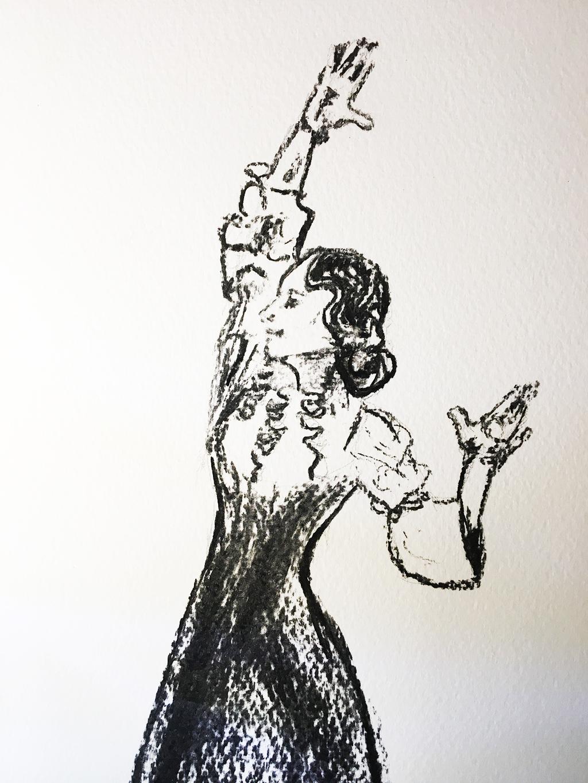 Eva Yerbabuena bailaora print in charcoal